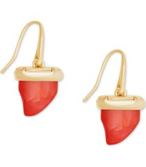 kendra scott 14k gold-plated carved shark tooth drop earrings