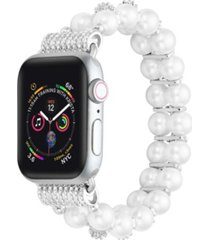 unisex white skinny faux pearl band for apple watch, 38mm