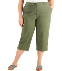 karen scott plus size comfort-waist capri pants, created for macy's