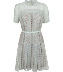 mint lace panel mini dress