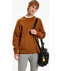 tommy hilfiger men's relaxed fit herringbone sweater highland khaki - xxxl