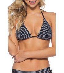 women's isabella rose tivoli slider triangle bikini top, size medium - black