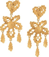 christian lacroix pre-owned heart lace long earrings - gold