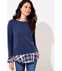 loft petite plaid mixed media bell cuff sweatshirt