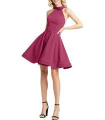 mac duggal women's halter royal fit-&-flare dress - royal - size 0