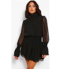 dobby high neckshirred mini dress, black