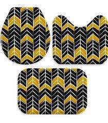 kit 3 tapetes decorativos para banheiro wevans abstrato preto e amarelo - amarelo/preto - dafiti