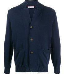 brunello cucinelli buttoned high-collar cardigan - blue