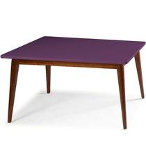 mesa de madeira retangular 140x90 cm novita 609 cacau/roxo - maxima