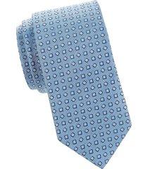 eton men's silk geometric-print tie - blue