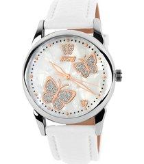 reloj de cuarzo de señora de cara de mariposa-blanco