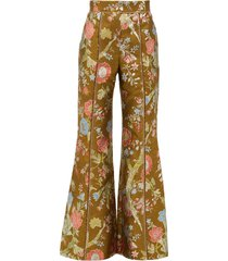 high rise floral brocade flared trousers