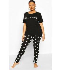 plus cutie with a booty pyjama set, zwart