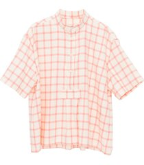 short sleeve cropped sleep shirt pink & cream check flannel