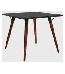 mesa quadrada valentinna preto/pé escuro retrô artesano