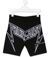 philipp plein embroidered logo bermuda shorts - black