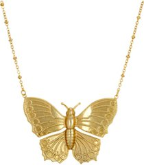 2028 women's gold tone statement butterfly necklace