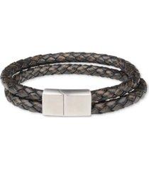 bespoke men's double-strand braided leather bracelet