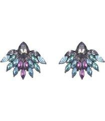 brinco armazem rr bijoux cristais coloridos grafite - feminino
