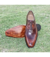 handmade men antique brown formal shoes, men brown dress shoes, men shoes