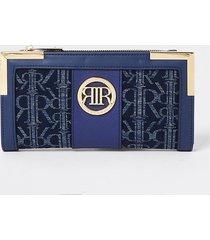 river island womens blue denim ri jacquard metal corner purse