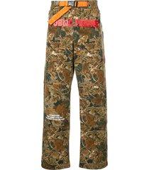 heron preston camouflage hiking pants - green