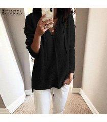 zanzea mujeres mullido informal de manga larga sudaderas con capucha holgada túnica de la blusa tops camisa -negro