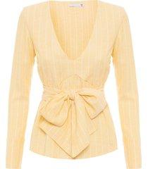 camisa feminina transpassada decote v - amarelo
