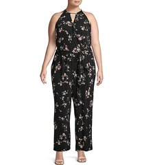 plus floral-print jumpsuit