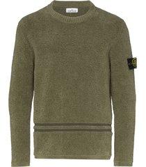 stone island logo-patch chenille sweater - green