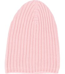barrie ribbed knit beanie - pink
