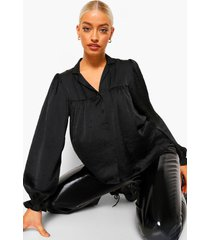 gerimpelde oversized blouse, black