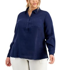 inc plus size linen frayed-trim tunic, created for macy's