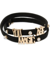 """bcbgeneration gold-tone crystal """"you are magic"""" faux-leather wrap bracelet"""
