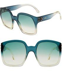 women's fendi 58mm square sunglasses - petrol/ grey green