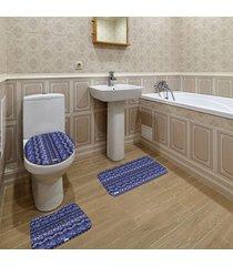 jogo de banheiro abstrato azul marinho ãšnico - azul marinho - dafiti