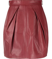 alberta ferretti high-rise straight-leg skirt - red
