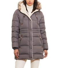 women's lauren ralph lauren faux fur trim down & feather fill parka, size x-small - grey