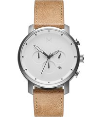 mvmt chronograph leather strap watch, 45mm in tan/white/silver at nordstrom