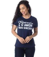 camiseta o amor mais sincero thiago brado 6027000005 marinho - marinho - pp - feminino