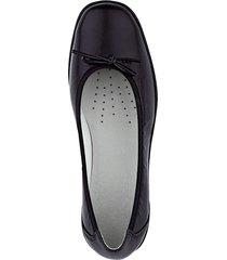 breda skor med rosett och liten klack naturläufer svart