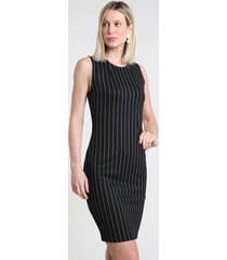 vestido feminino básico curto estampado risca de giz sem manga preto