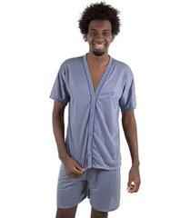 pijama linha noite de botão masculino