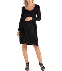 24seven comfort apparel knee length pleated long sleeve maternity dress