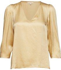 satin v-neck blouse blouse lange mouwen geel by ti mo