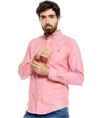 camisa manga larga logo bordado con contraste de tela en banda y portañuela color blue