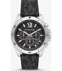 mk orologio brecken oversize tonalità argento con logo - nero (nero) - michael kors