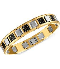 esquire men's jewelry woven carbon fiber & tungsten link bracelet in stainless steel & gold ion-plated stainless steel, created for macy's