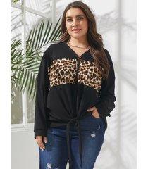 yoins plus talla cuello en v leopard patchwork self-tie diseño camiseta