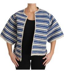 raffia striped short sleeve coat